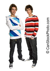 two young men standing, on a white background