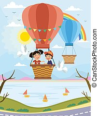 Two young people enjoying a ride in a balloon