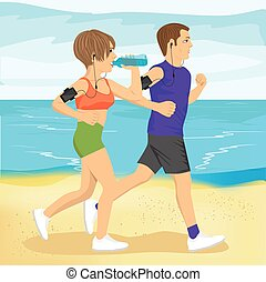 two young people jogging on beach drinking water, sport and healthy lifestyle