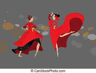 Two young spanish girls in traditional dress dancing flamenco