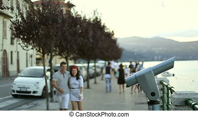 Two Young valentine People Boy and Girl are Holding Hands. Italy, August 2015 in Arona City HD Slow motion