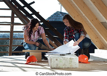 Two young woman repairing the roof of the house - Two young ...
