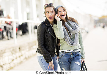 Two young women at outdoor