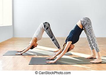 Two young women doing yoga asana Downward Facing Dog. Adho...