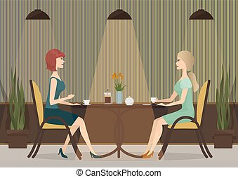 Two young women drinking coffee in the cafe restaurant. Lady girls lunch together.