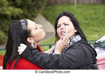 Two Young Women Fighting