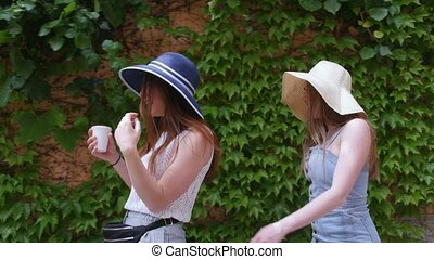 Two young women friends walking in panamas on the streets...