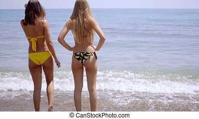Two young women in swimsuits standing in the sea