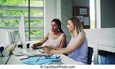 Two young women in the office working together, consulting a project.