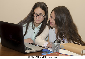 Two young women looking at a computer