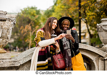 Two young women outdoor