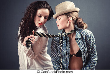Two young women portrait