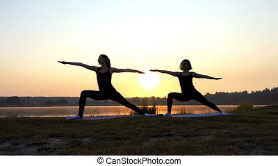 Two Young Women Practice Yoga on The Picturesque Lake Bank at Sunset