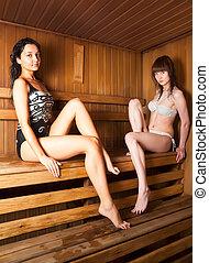 Two young women relaxing in a sauna