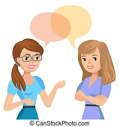 Two young women talking. Meeting colleagues or friends....