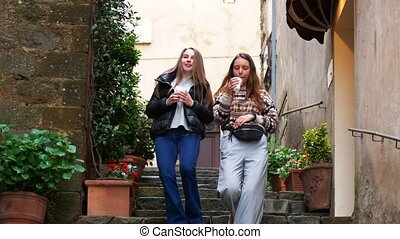 Two young women walk in the alley. Mid shot