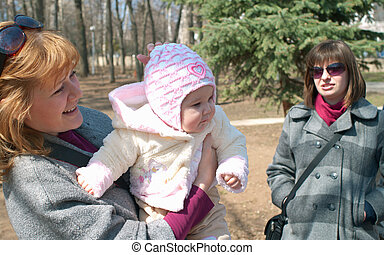young women with baby