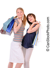 Two young women with purchases