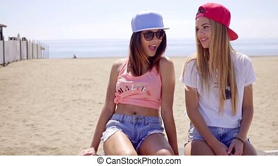 Two young women with their skateboards