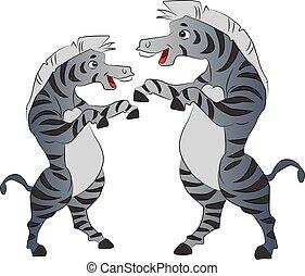 Two Zebras Dancing, illustration