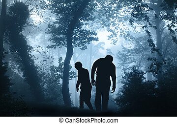 Two zombies in mysterious landscape of foggy forest