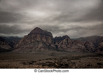 Twocoloured Rock in the Red Rock Canyon National Conservation Area in bad weather conditions