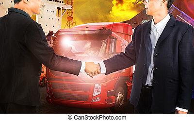 twon, affärsman, skaka, hand, med, framgångsrik, skarv, våga, affär, gemensam, lag, lösning, in, transportmedel industri