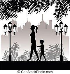 twon, wandelende, vrouw, silhouette, park, achtergrond, kind
