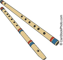 Twoo bamboo flutes