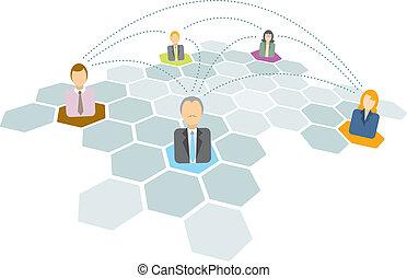 tworzenie sieci, handlowy zaludniają, ikony, /, złączony