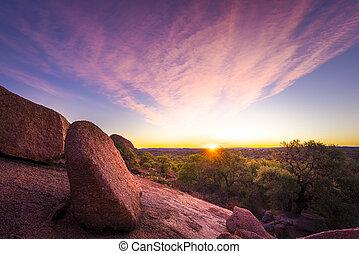 tx, encantado, encima, parque, estado, roca, salida del sol