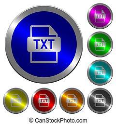 txt, bestand, formaat, lichtgevend, coin-like, ronde, kleur, knopen