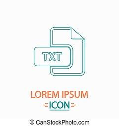 TXT computer symbol - TXT Flat thin line icon on white ...