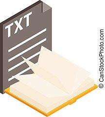 Txt file icon, isometric style - Txt file icon. Isometric ...