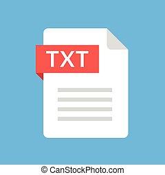 TXT file icon. Text document type. Flat design graphic illustration. Vector TXT icon