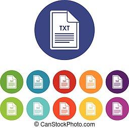 txt,  Set, bestand, iconen