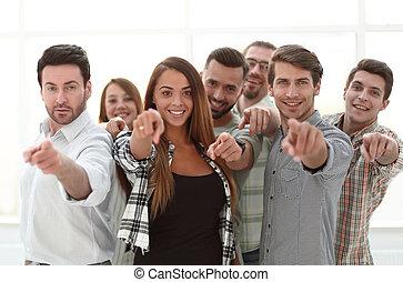 ty, grupa, młody, spoinowanie, ludzie