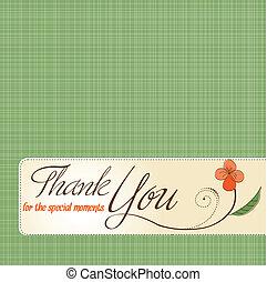 ty, kwiat, dziękować, karta, powitanie