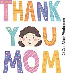 ty, mamusia, dziękować, ilustracja, twarz