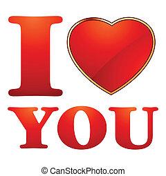 ty, miłość, template., karta, valentine