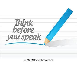 ty, pisemny, wiadomość, przed, myśleć, mówić