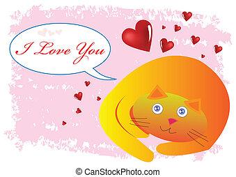 ty, wektor, miłość, ilustracja, kot