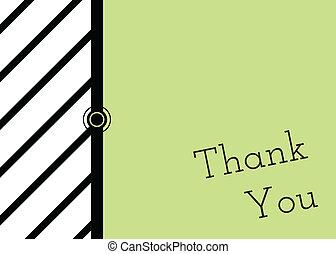 ty, zielony, śmiały, karta, dziękować