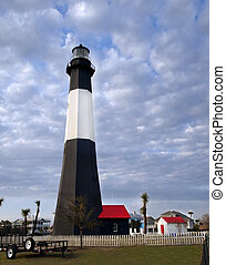 The historic lighthouse on Tybee Island, GA is an attractive tourist destination.