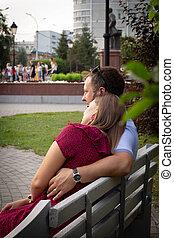 tycka om, annat, bench., par, parkera, konversation, kärlek, varje, sommar, kvinna, bemanna sitta
