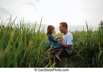 tycka om, fader, bonding, utomhus, dotter