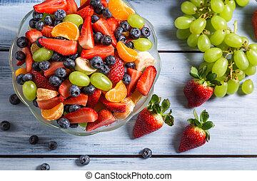 tycka om, frukt, din, sallad