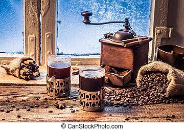 tycka om, kaffe, vinter, dag, varm, din