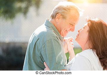 tycka om, långsam, romantisk, dans, par, mitt, utanför, åldrig