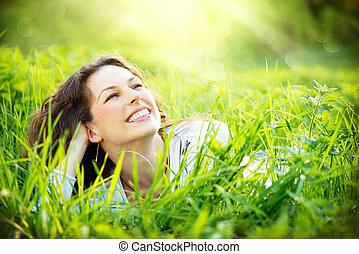 tycka om, outdoors., kvinna, ung, natur